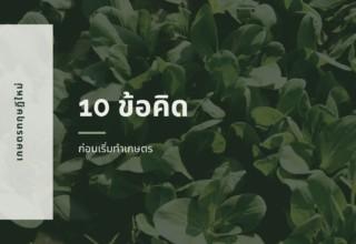 10 ข้อคิดก่อนตัดสินใจเป็นเกษตรกร
