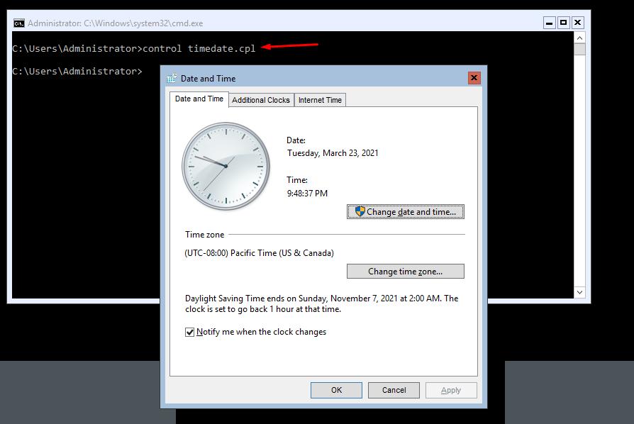 การตั้งค่าวัน เวลา บน Windows 2016 ด้วย Command Line